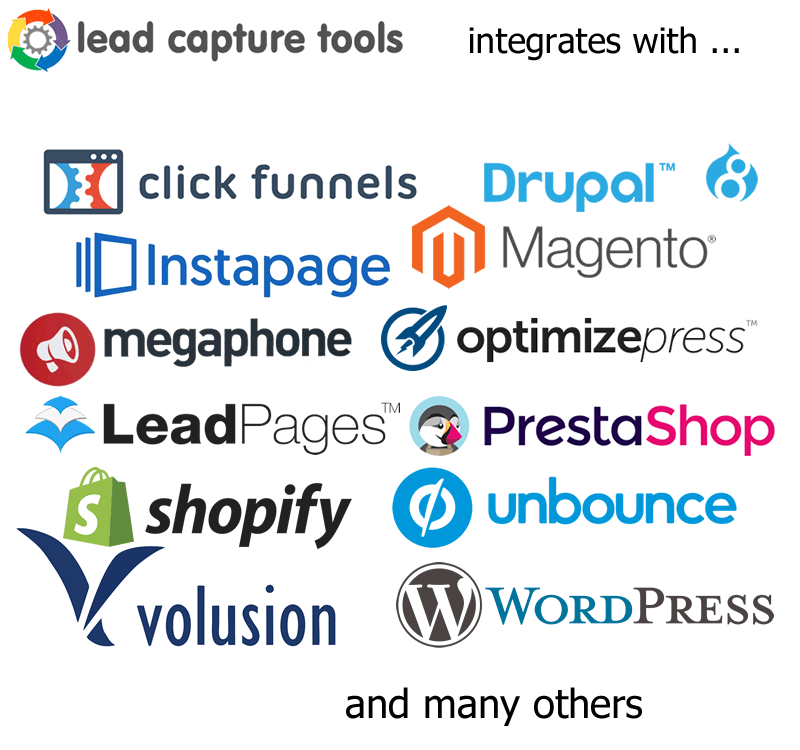 integrates with; clickfunnels, drupal, instapage, magento, megaphone, optimizepress, leadpages, prestashop, shopify, unbounce, volusion, wordpress and virtually any other service